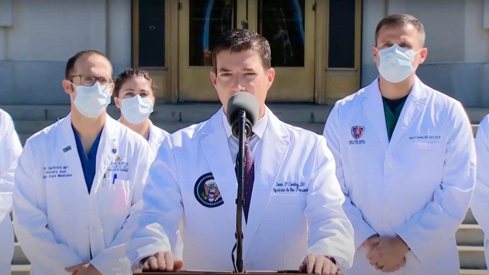 Sean Conley outside Walter Reed Hospital