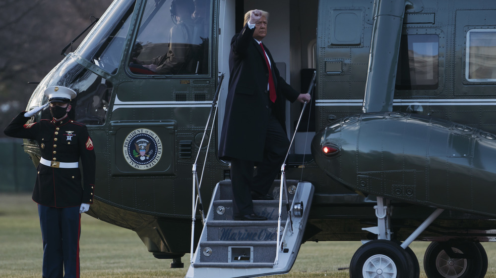 Trump boarding the Marine One helicopter
