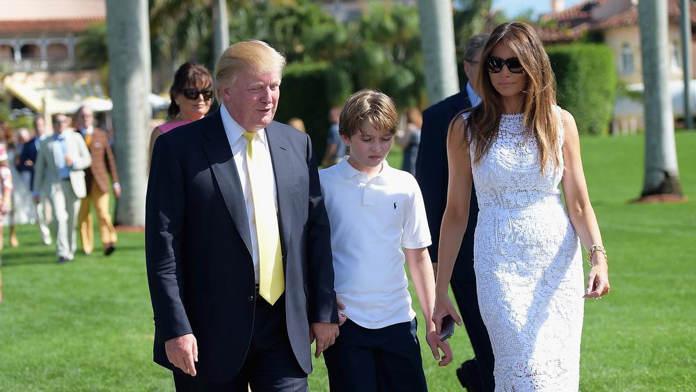 Donald Trump, Melania Trump, and Barron Trump at Mar-a-Lago