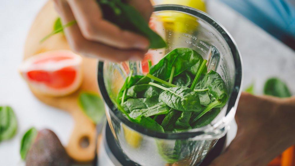 Vegetables in a blender