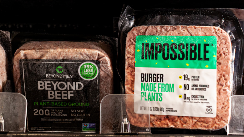 Impossible and beyond burgers on a shelf