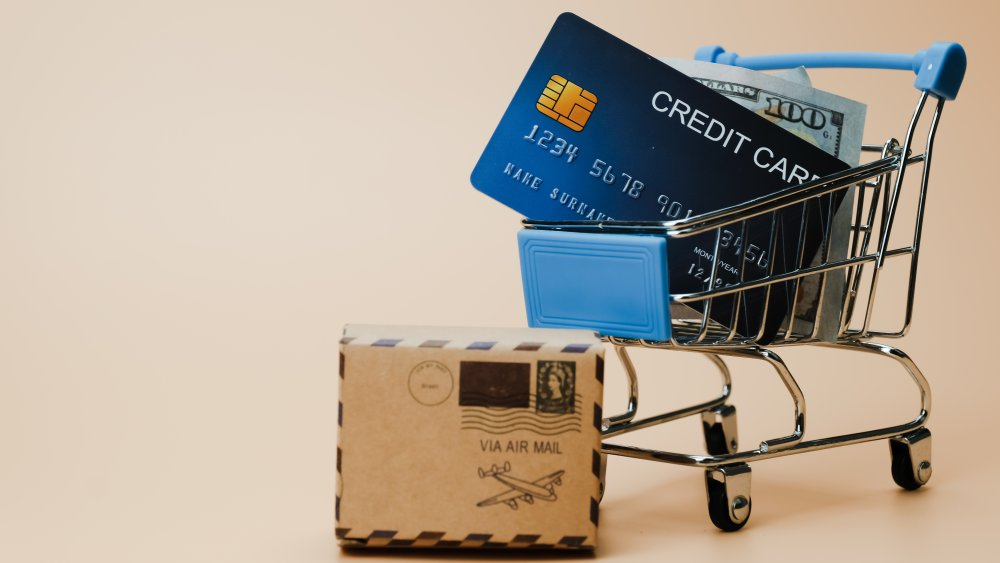 Shopping cart, credit card