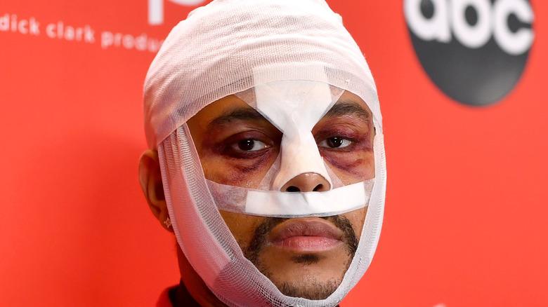 The Weeknd's bandaged face