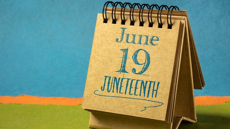 Desk calendar showing Juneteenth