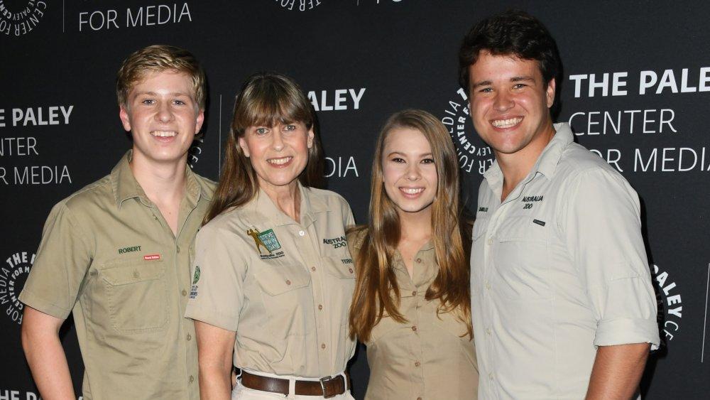 Robert, Bindi, and Terri Irwin with Bindi's husband Chandler Powell