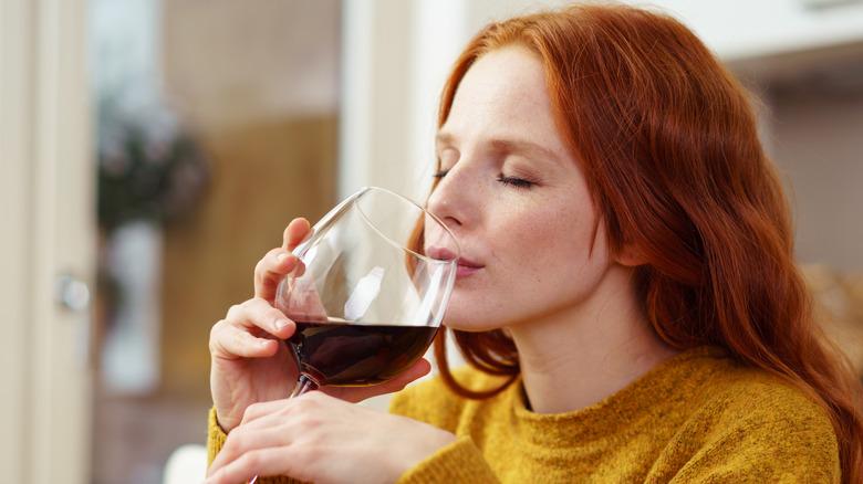 Dietitian drinking wine
