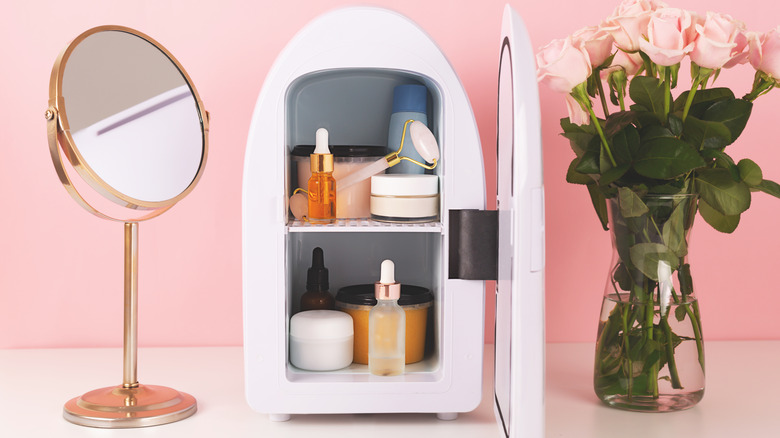 A beauty fridge filled with products
