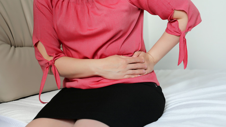 Woman with left abdominal discomfort