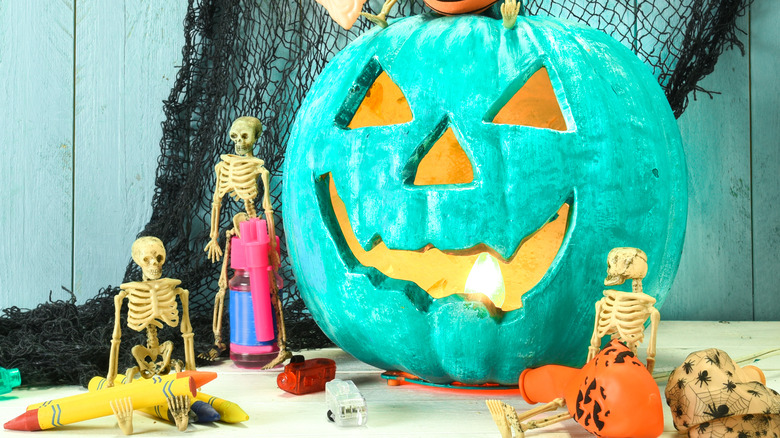 teal jack-o-lantern halloween