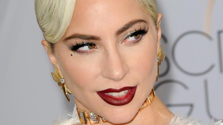 Lady Gaga posing on red carpet