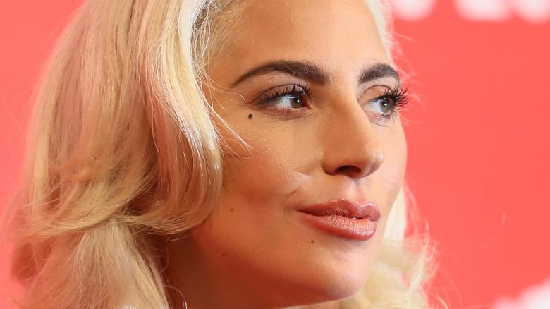 Lady Gaga smiles on red carpet