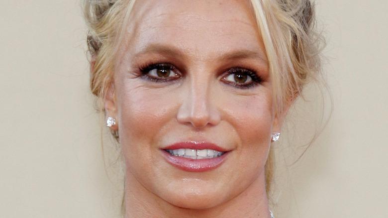 Britney Spears wearing her hair back