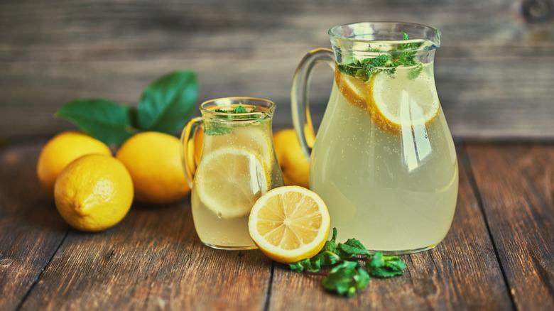 Jar of mint leaves and lemon