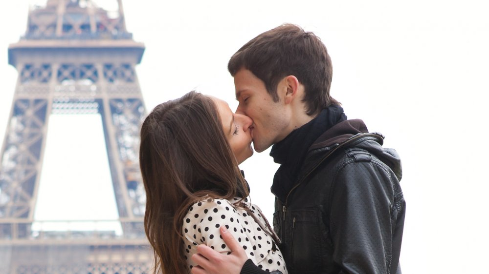 People french kissing for a long time