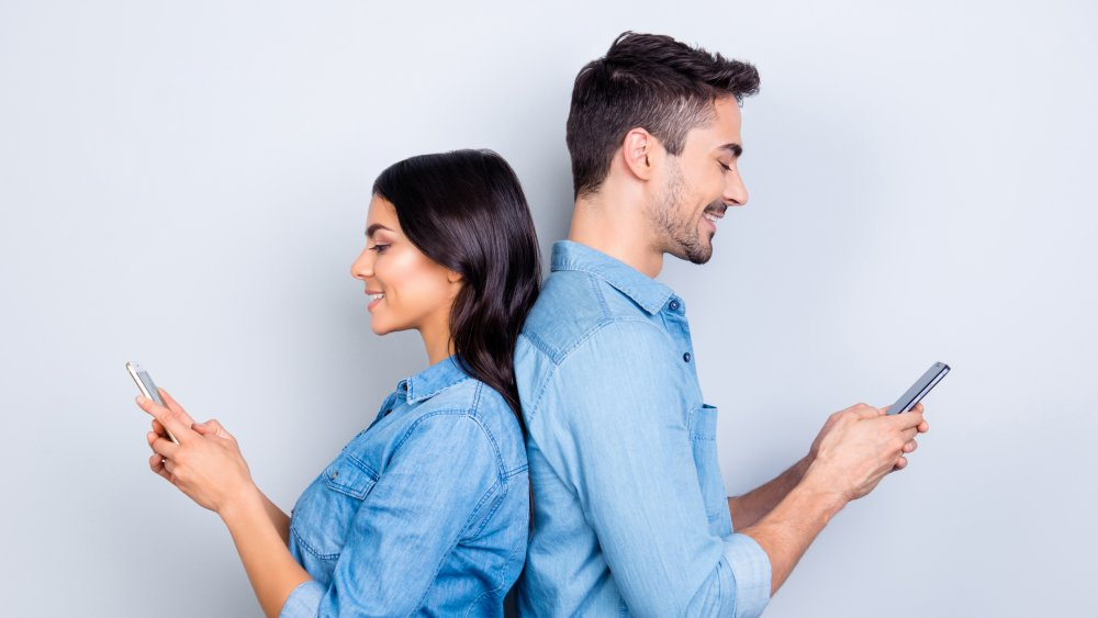 Couple with phones