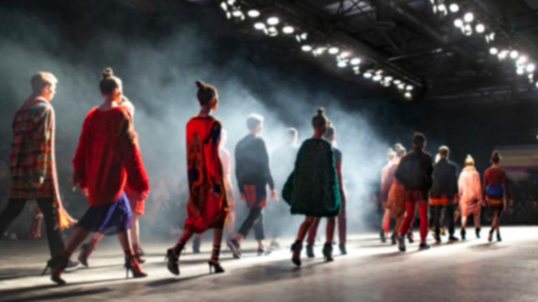 Models walk on a runway
