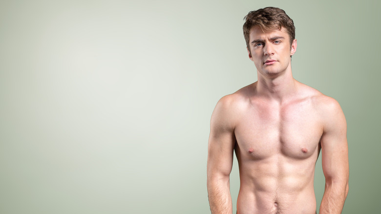 Man with exposed nipples