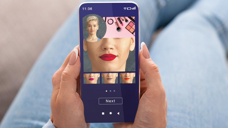 woman using makeup app