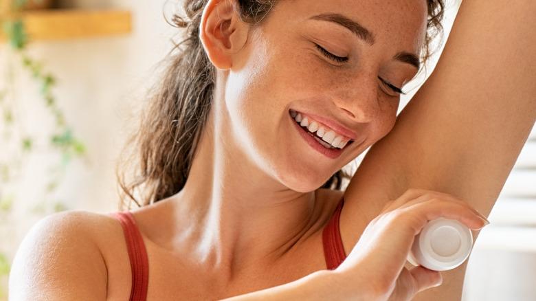 Women wearing deodorant