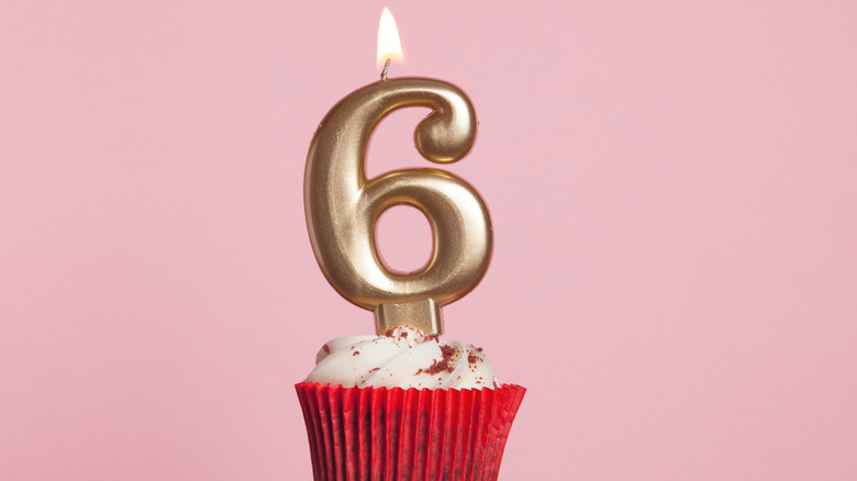 Number 6 candle in cupcake