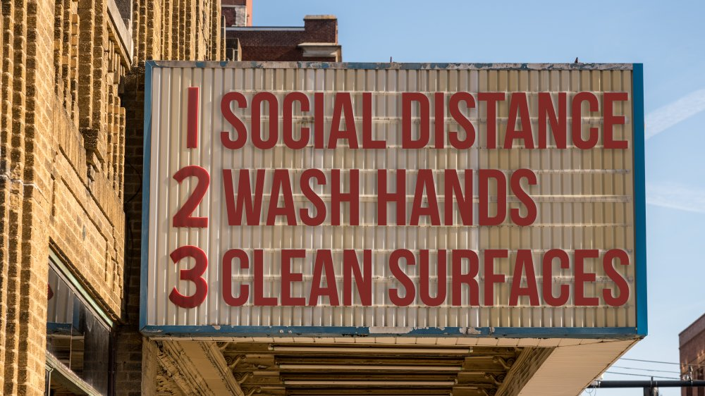 Marquee promoting social distancing