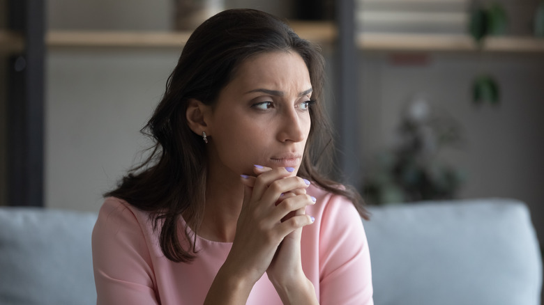 Woman looking concerned