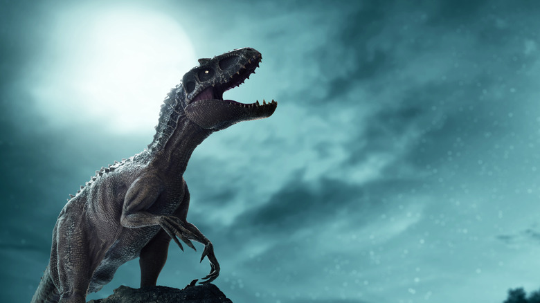 A T-Rex in front of the moon