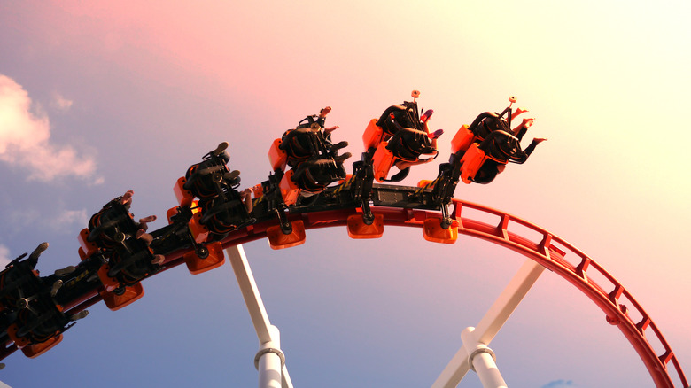 A roller coster in the sunset