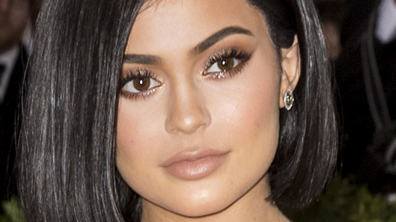 close up of Kylie Jenner with a face full of makeup