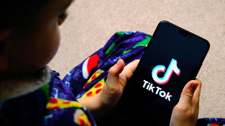 Boy on TikTok app
