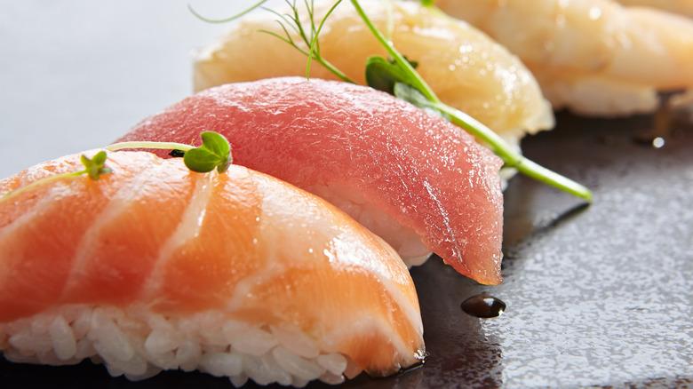 A slate of nigiri sushi