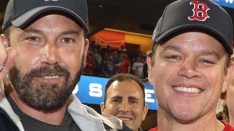 Ben Affleck and Matt Damon take in a baseball game in 2018