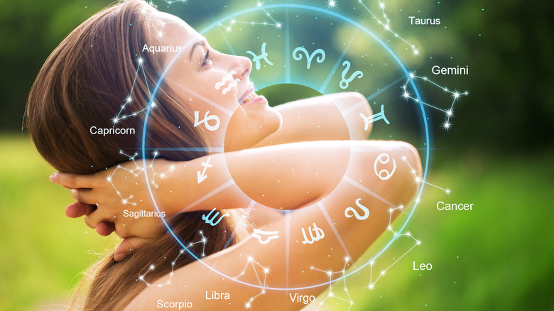The zodiac signs and a young woman.