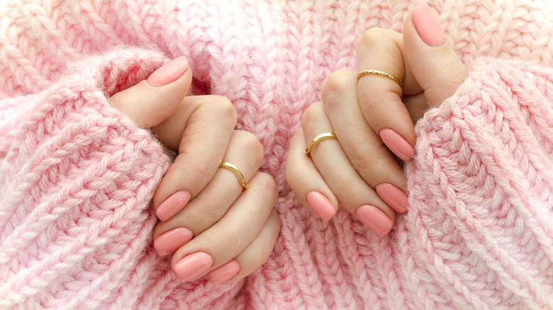 Pink manicure on square nails