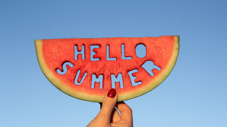 Welcome Summer carved into a watermelon