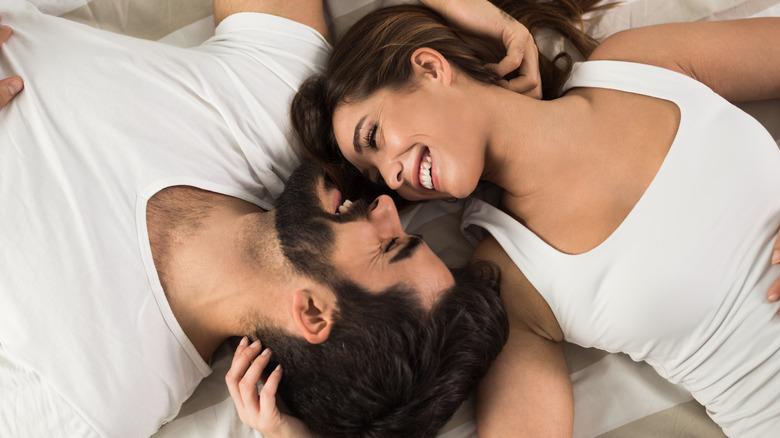 Happy couple cuddling