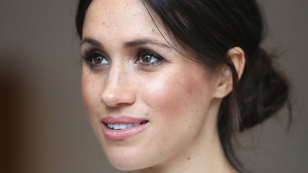 Meghan Markle with slight grin hair pulled back