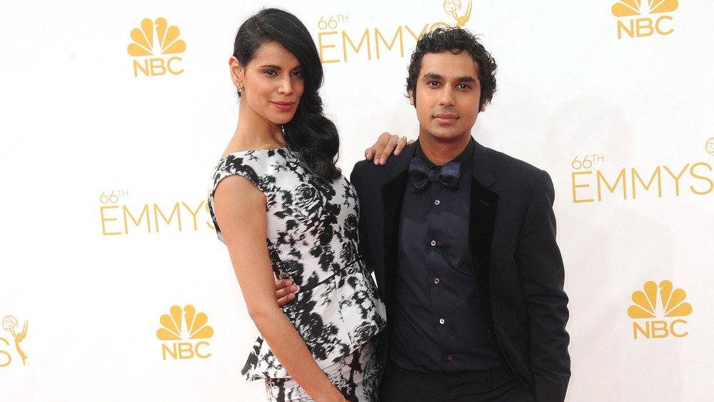 Kunal Nayyar and Neha Kapur Nayyar in tux and black and white gown