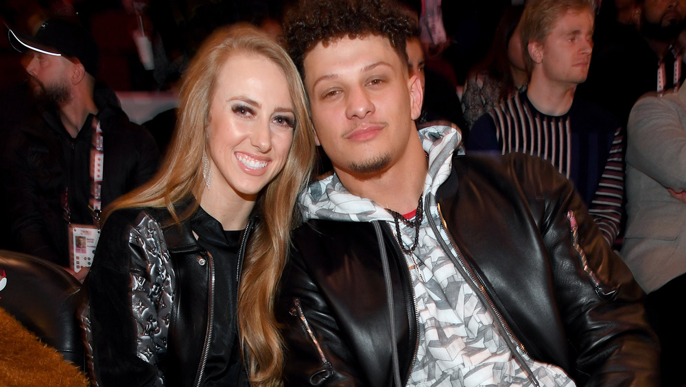Brittany Matthews smiling with Mahomes