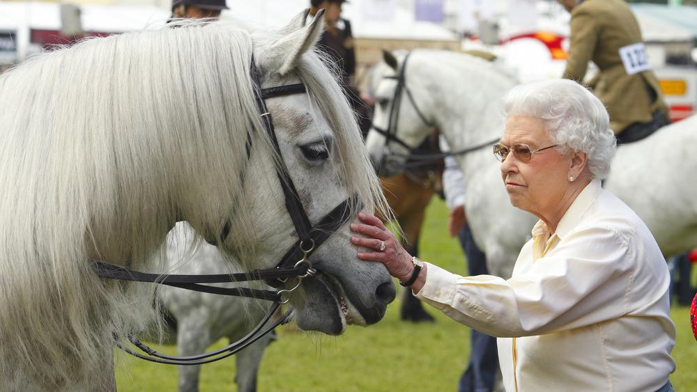 Queen Elizabeth with white horses