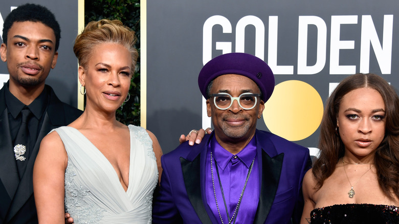 Jackson Lee, Tonya Lewis Lee, Spike Lee, and Satchel Lee attend the 76th Annual Golden Globe Awards