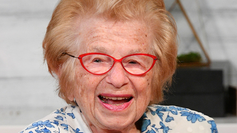 Dr. Ruth smiles for the camera.
