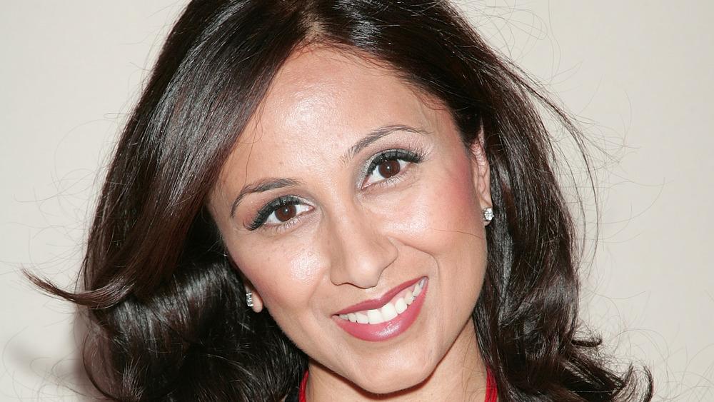 Close-up of Rasha Goel smiling on the red carpet