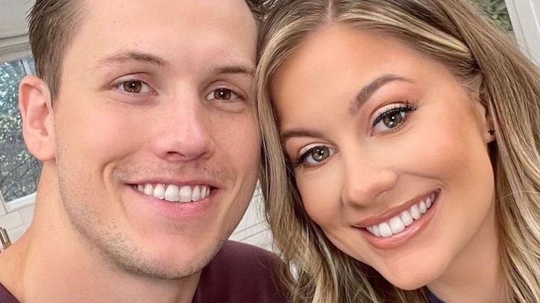 Andrew East and Shawn Johnson posing for a selfie