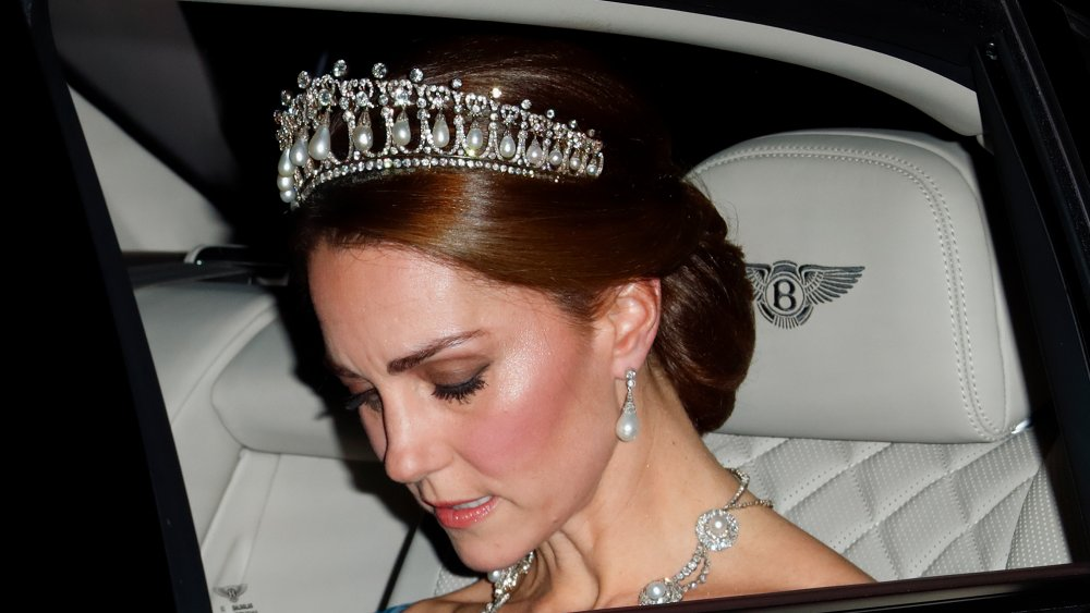 Kate Middleton wearing the royal family's jewelry