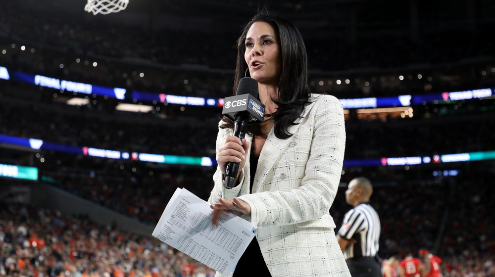 Tracy Wolfson reporting on basketball court