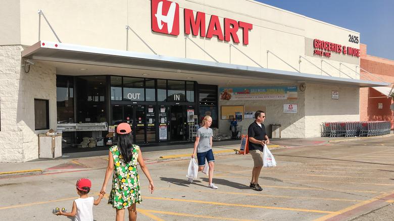 Shoppers outside H Mart