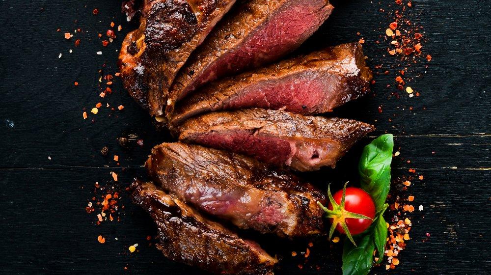 sliced steak medium