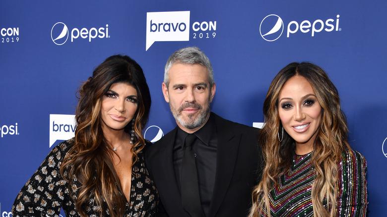 Teresa Giudice, Andy Cohen, and Melissa Gorga at BravoCon
