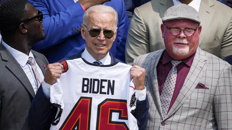 Joe Biden with a football shirt